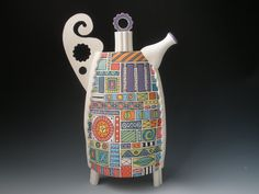Hand Built Hand Painted Porcelain Teapot by PainterlyPots on Etsy, $425.00