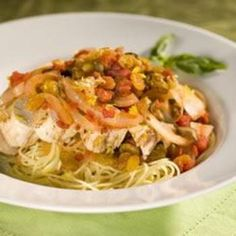 Sicilian Lemon Chicken with Raisin-Tomato Sauce... eat over spaghetti squash.