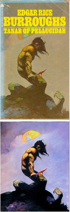FRANK FRAZETTA - Tanar of Pellucidar by Edgar Rice Burroughs - 1973 Ace Books - cover by isfdb - print by www.tarzan.org