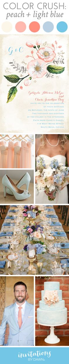Wedding Color Crush: Peach + Light Blue  #peachwedding #bluewedding #elegantweddingcolors