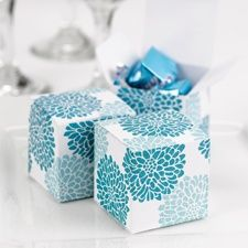 Floral Favor Boxes - Teal Avail in other colors :) www.ceremoniesbychristina.carlsoncraft.com