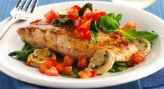 Mantarlı, Ispanaklı, Domatesli Fırında Somon Balığı Tarifi