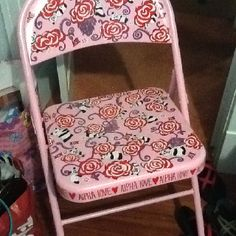 Lilly Pulitzer AOII painted metal chair