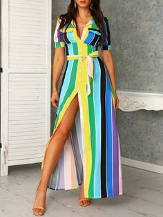 3b28d4f602174 boutiquefeel   Rainbow Color Striped Buttoned Shirt Maxi Dress