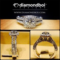 This design was made with a round cut diamond. The diamond was placed on a cushion shaped Italian pave halo. The double shank also features diamonds in an Italian pave setting. The gallery I incorporated beautiful vintage swirls. #diamond #diamonds #wedding #weddings #engagement #ring #rings #bride #brides #jewellery #jewelry #halo #vintage #diamondboi