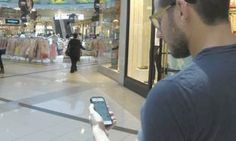 NIV ELIS watches his footsteps populate his smartphone to help navigate the Ayalon mall in Ramat Gan (March 2014)