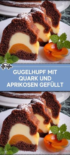 Gugelhupf mit Quark und Aprikosen gefüllt Ingredients for the filling: 500 g curd cheese 1 egg yolk 4 icing sugar 4 icing whipped cream 1 pck. Pudding powder with vanilla flavor 1 canned apricots for the dough: German Desserts, Chocolate Desserts, Sweet Recipes, Cake Recipes, Dessert Recipes, Apricot Dessert, Vanilla Flavoring, Cakes And More, Healthy Foods To Eat