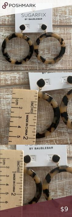 SUGARFIX BY BAUBLEBAR Tortoise Druzy Hoops Super cute, worn twice. BaubleBar Jewelry Earrings