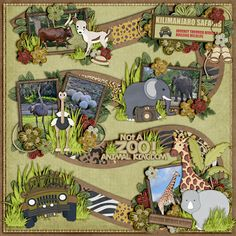 "Layout made using ""Not a Zoo"" Kit, Cardstock and Wordart by Kellybell Designs Play a Game Templates 1 by Scrapping with Liz"