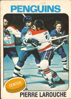 Pierre Larouche, Pittsburgh Penguins - 1975-76 O-Pee-Chee rookie hockey card.