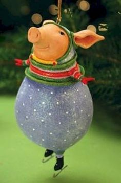 Patience Brewster Krinkles Fred Pig Christmas Ornament