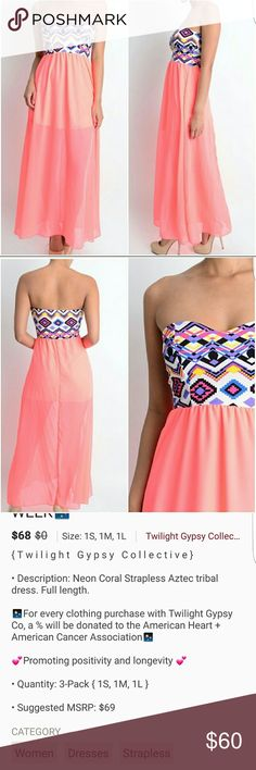 **COMING SOON**Neon Coral Strapless Aztec Dress Beautiful maxi dress, absolutely perfect for the upcoming summer season!! Will be getting information about measurents and material soon. Price is firm. Dresses Maxi