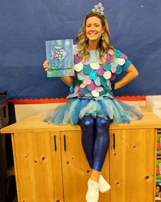 """""""The Rainbow Fish shared his scales left and right. And the more he gave away, the more delighted he became."""" 🌈🐠Book character day was a success 🙋🏼♀️ Huge thanks to for the inspiration and help creating this outfit 🙌🏼 Now its a time for bed 😴. Kids Book Character Costumes, Book Characters Dress Up, Character Halloween Costumes, Book Character Day, Character Dress Up, Teacher Halloween Costumes, Book Costumes, World Book Day Costumes, Halloween Books"""