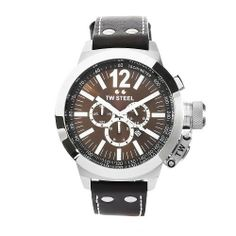 TW Steel Men's CE1012 CEO Canteen Brown Leather Brown Chronograph Dial Watch TW Steel. $595.00. Stainless steel case brown leather band. Brown chronograph dial. Quartz movement. Water-resistant to 330 feet (100 M). Mineral crystals