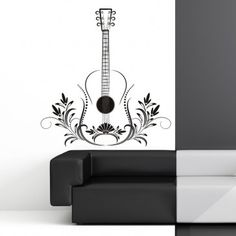 Floral Guitar Instrument Music Wall Art Decal - Musical Instruments - Music