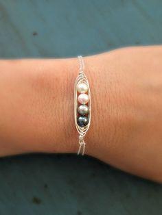 Peapod Bracelet 4 Pearl Mothers Jewelry Swarovski Pearl Sterling silver Birthstone Jewelry via Etsy