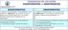 Diferencia en inglés entre Disinterested y Uninterested