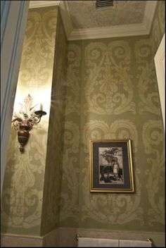 Olive Green Stencil with Antiquing Glaze in Coconut Grove House