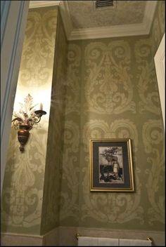 Beautiful stenciled walls in powder room