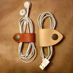 Leather cable holder  Holder do kabli – Raw Leather