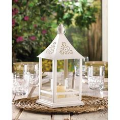 Beautiful White Floral Cutout Candle Lantern With Glass Hurricane