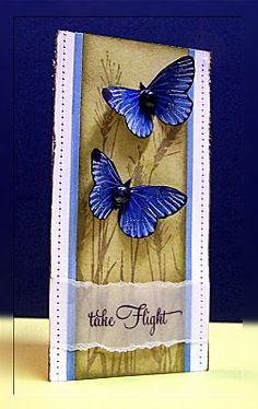 handmade card ... tall and thin ... deep blue die cut butterflies on kraft stamped in brown ... gorgeous!!
