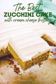 This super moist zucchini cake with cream cheese frosting is absolutely incredible! Adapted from my popular carrot cake sheet cake and my cinnamon swirl zucchini bread, this easy dessert recipe will be your new go-to summer dessert!    Delightful E Made