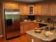golden oak cabinets enhanced with mahogany gel stain | gel stain