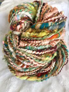 "Handspun Art Yarn TNT Worsted to Bulky Hand Spun ""Wellness"" Skein 62 yrds 9 oz. Spinning Wool, Hand Spinning, Crochet Mittens Pattern, Textile Fiber Art, Yarn Stash, Weaving Projects, Bead Loom Patterns, Chunky Yarn, Tapestry Weaving"