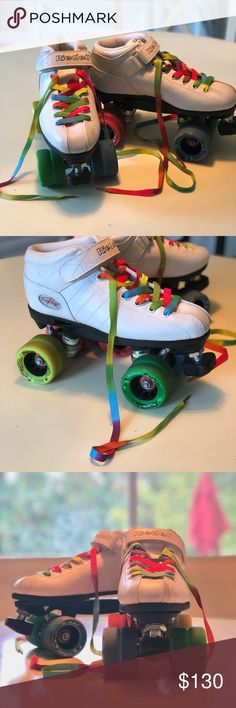Riedell R3 Roller Derby Skates size 7 White Riedell R3's with rainbow laces and rainbow wheels. These are sold out and very hard to find. I've looked - I want them in a smaller size! Size 7 - they run big (these will fit size 8-81/2). Worn and skated in a few times in my driveway and they are just too big for me. Almost new condition with slight scuffs since I'm definitely no good at skating. Riedell Other