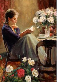 Book/reading/flowers/roses/woman/girl