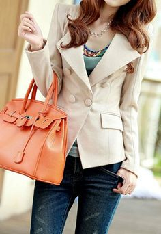 Elegant Ladies Double Breast Lapel Short Coat Slim Jacket Blazer