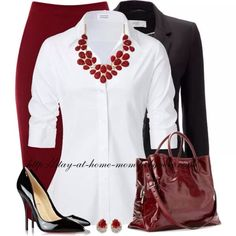 I like the skirt, shirt and accessories.  I'd wear different shoes and a different jacket/sweater to make it more casual.