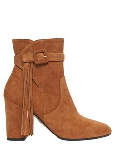 85MM CHRISTINA SUEDE BOOTS WITH FRINGE