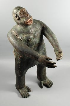 Circa 1933 folk art carved figure of King Kong.