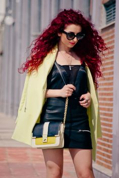 neon and black...an outfit with EfZinCreations necklace  http://www.nothinglikefashion.com/2014/04/elegant-neon.html#more