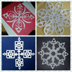 Nerdy gamer paper snowflakes. Triforce and shield, tf2 logo, companion cube and Hylian Crest. All made by yours truly :) zelda portal tf2 <3