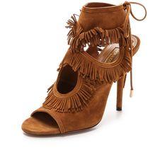 Aquazzura Sexy Fringe Sandals - Cognac