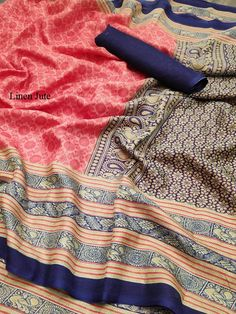 Linen Jute Digital Print Saree, Such Saris women use to wear on Formal Wea, Festival Wear at Online Lowest Wholesale Price Shipping Worldwide Jute Sarees, Silk Sarees, Printed Sarees, Printed Silk, Festival Wear, Indian Sarees, Sarees Online, Beautiful Outfits, Digital Prints