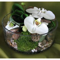 San Diego Wholesale Flowers and Supplies - Low Cylinder w/ Moss & Rocks Floral Arrangement