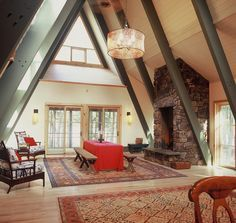Interior of large a-frame