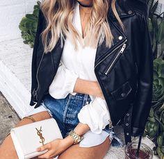 """fabulous-looks: """" Leather Jacket» Blouse» Shorts» """""""