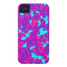 Neon Colors Paint Splatters Cool iPhone 4 Cases for Girls. Purple, Hot Pink, Teal Aqua Blue. #cool #iPhone