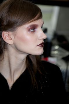 Backstage Beauty: New York Fashion Week Fall 2014 - Rodarte Fall 2014 In love with this look! purple and glitter lips