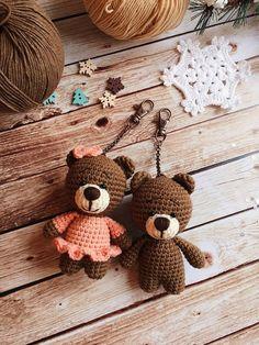 Crochet keychain/Handmade keychain/Bag accessories/Amigurumi animals/Forest animals/Small keychain/Baby bear/Plushie/Baby gift/Handmade toy Crochet Bear Crochet keychain/Handmade keychain/Bag accessories/Amigurumi animals/Forest animals/Small keychain/B - Beau Crochet, Crochet Bear, Crochet Patterns Amigurumi, Amigurumi Doll, Crochet Animals, Crochet Dolls, Crochet Gifts, Knitting Patterns, Handmade Keychains