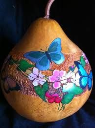 """Gourd Art by Irene Gonzalez, inspired by DVD """"Oak Leaf Gourd Bowl with Decoupage Lining"""" Hand Painted Gourds, Decorative Gourds, Wood Burning Patterns, Wood Burning Art, Gourds Birdhouse, Birdhouses, Butterfly Flowers, Butterfly Dragon, Monarch Butterfly"""