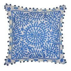 Bombay Duck - 'Souk' Embroidered Cushion 40cm Blue