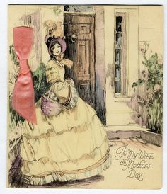 MOTHER'S DAY to Wife Art Deco Greeting Card c 1920-30s Pretty Woman PINK RIBBON