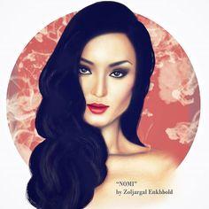 Mixed media illustration for model/actress Nomi Ganbold 😘  #fashionillustration #model #commission #work #mixed #media #artwork #artsy #traditional #digital #mixed #painting #portrait #art #artist #mongolian #fashion