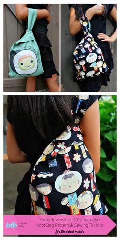 DIY Japanese Knot Bag Free Sewing Patterns | Fabric Art DIY Bag Pattern Free, Sewing Patterns Free, Free Sewing, Fabric Patterns, Hobo Bag Patterns, Japanese Knot Bag, Sew Wallet, Sewing Hacks, Sewing Ideas